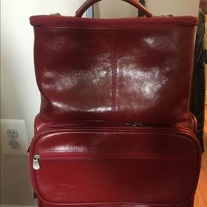 Handbags - Red leather suitcase and cosmetic bag